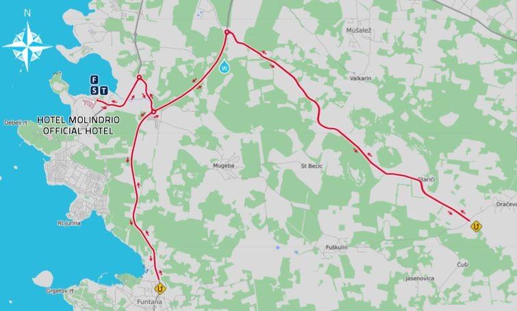 Thriatlon Plava laguna mapa zatvorene ceste