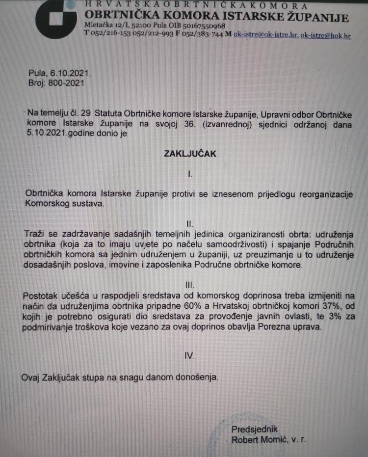 zaključak obrtničke komore istre vezan za izmjene zakona o obrtu